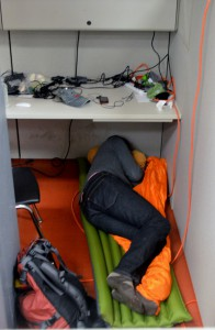sleeping on air mattress on the floor at hackathon