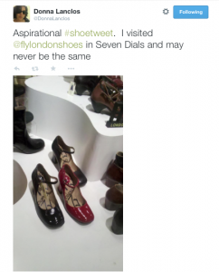 """Aspirational #shoetweet. I visited @flylondonshoes in Seven Dials and may never be the same."" Shoes on display in store."