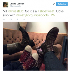 """MT @PriestLib: So it's a #shoetweet. Obvs. also with @mattjborg #fryebootsFTW"" friends' shoes on a couch"