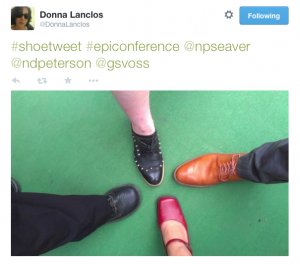 """#shoeteet #epiconference @npseaver @ndpeterson @gsvoss"" EPIC2014 attendees show off their shoes"