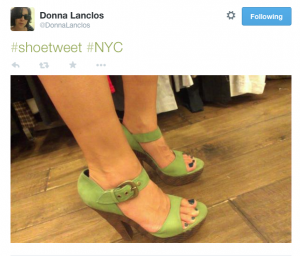 """#shoetweet #NYC"" author in green heels"