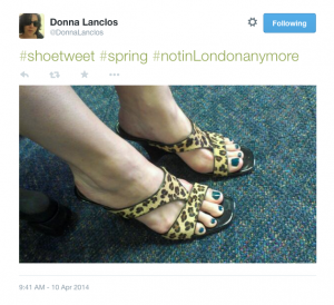 """#shoetweet #spring #notinlondonanymore"" author's leopardskin sandals"