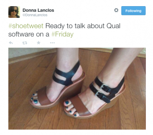 """#shoetweet Ready to talk about Qual software on a #Friday"" author's sandals"