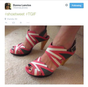 """#shoetweet #TGIF"" author wearing flashy sandals"