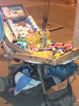 baby strollers are being used to sell goods on the streets of Addis Ababa