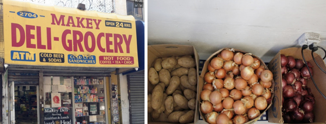 Left: A corner store makeover's unchanged exterior in the Bronx, New York City. Right: Bins of potatoes and onions are placed next to the door of the Three Amigos Market in Oakland as part of the Healthy Corner Store Project.