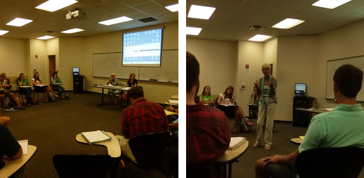 Left: students listen to Christina; Right: Gitti visiting class