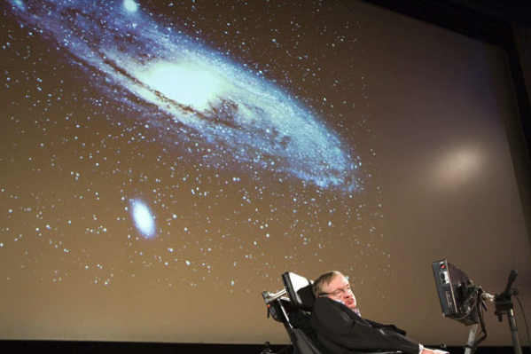 Stephen Hawking delivering a lecture