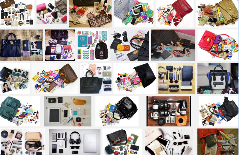 Screengrab of Google Image search 'what's in my bag'