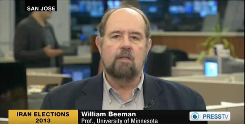 William Beeman being interviewed on PressTV on the Iranian elections