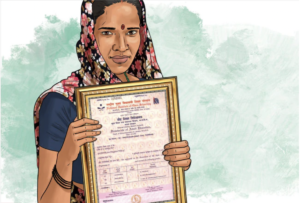 drawing of woman holding framed certificate from an India Today article about literacy testing