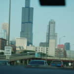 downtown chicago from perspective of driver approaching from south side